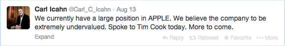 Carl Icahn Apple Stake Tweet