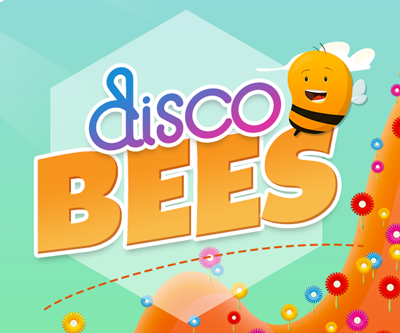 Disco Bees Flowers Logo With Bee White Hex