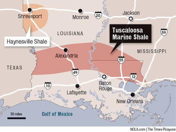 Tuscaloosa Marine Shale Map