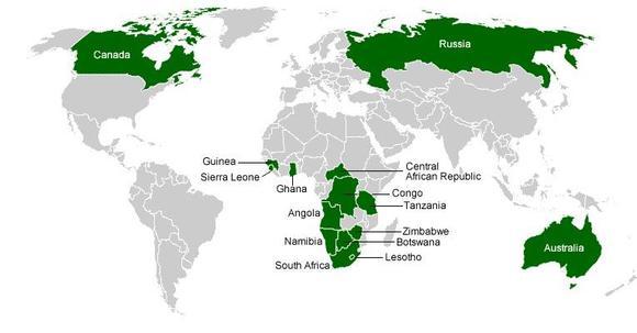 World Diamond Production Map