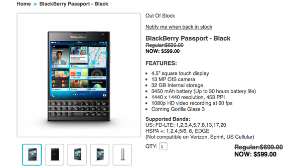 Blackberry Passport Sold Out
