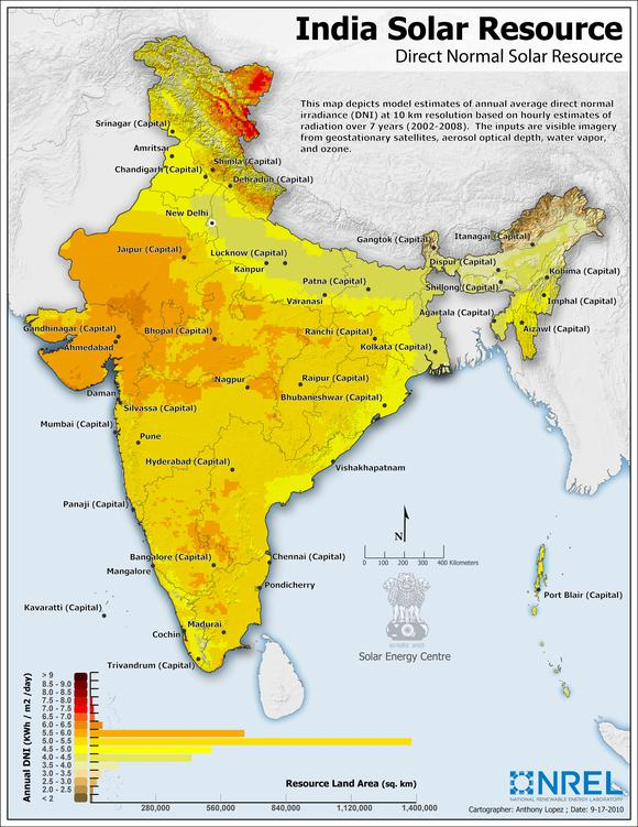 India Solar Resource Map