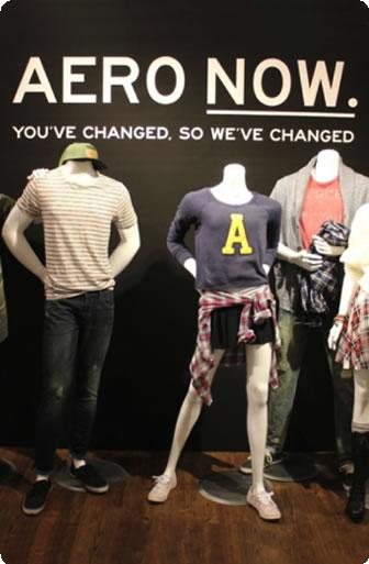 Shoppers and workers in the new Aeropostale clothing store in Times