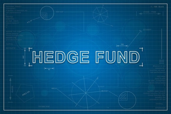 "The words ""hedge fund"" written on a blueprint."
