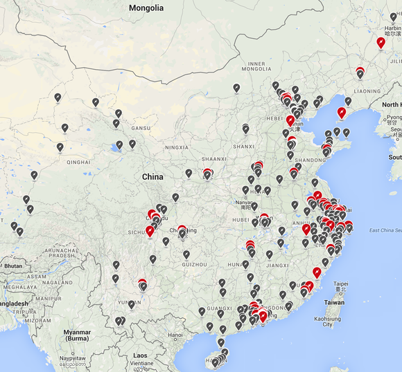 Tesla Charging Locations China Aug