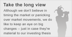 Although we don't believe in timing the market or panicking over market movements, we do like to keep an eye on big changes -- just in case they're material to our investing thesis.