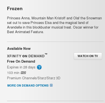 Frozen on Comcast Xfinity, via Starz.