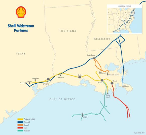 Shell Midstream Asset Map