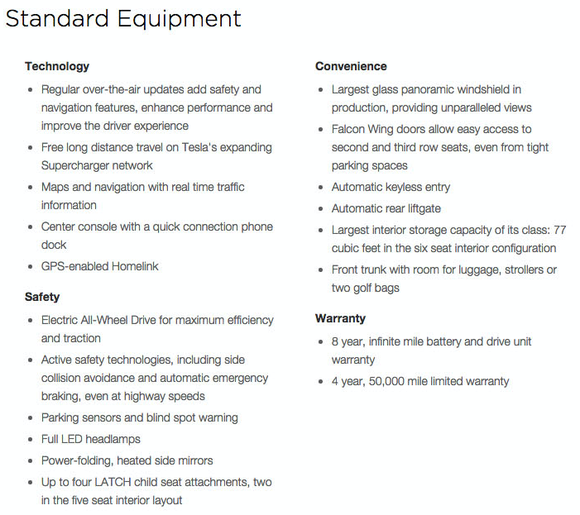 Model X Standard Features