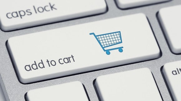 A button on a keyboard that says add to cart.