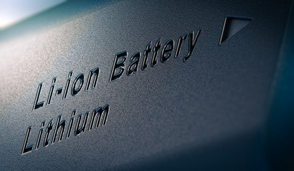 Close-up of text reading Li-ion Battery Lithium on a lithium battery pack