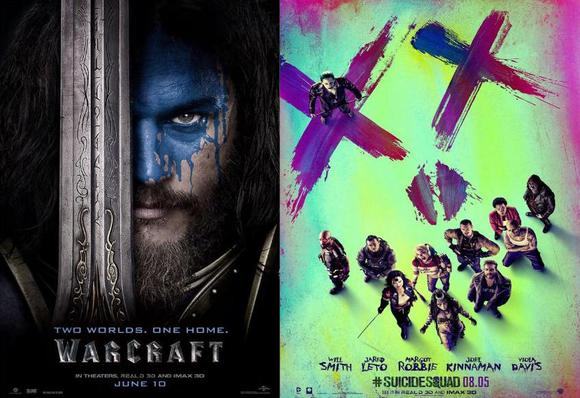 Warcraft and Suicide Squad movie posters