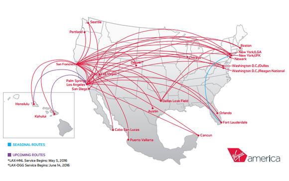 Virgin America Route Map Virgin America Route Map   CLAUDETEMAKI Virgin America Route Map