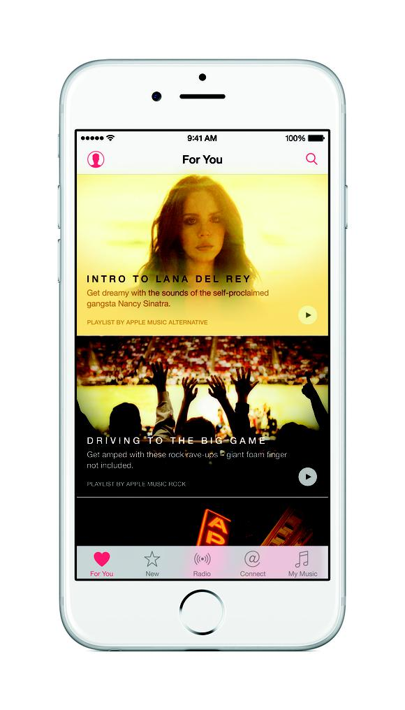 A screen shot of Apple Music's user interface