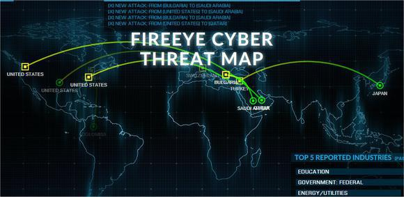 FireEye's real-time threat detection map.