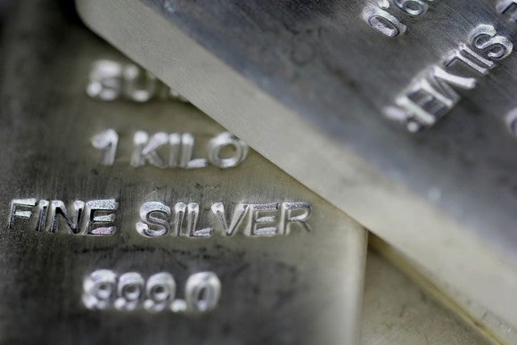 Close-up of silver bars