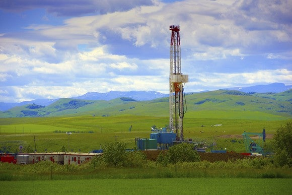 Drilling Rig Mountain Backdrop