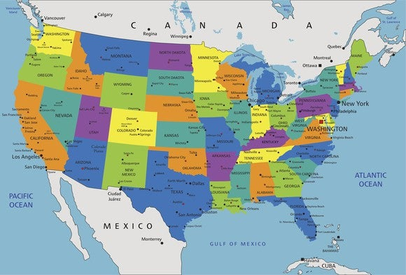Colorful Map Of Us