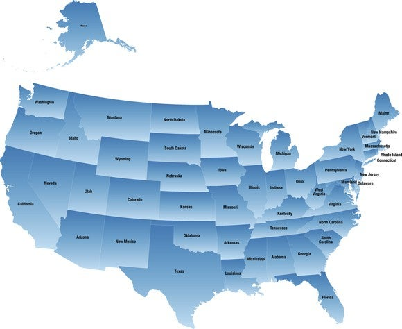 Map Of Us In Blue