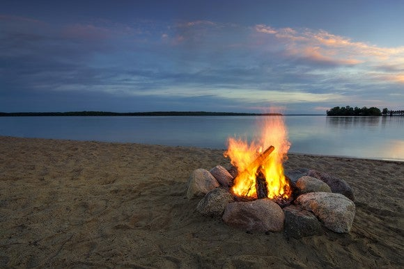 Beach Bonfire By Getty
