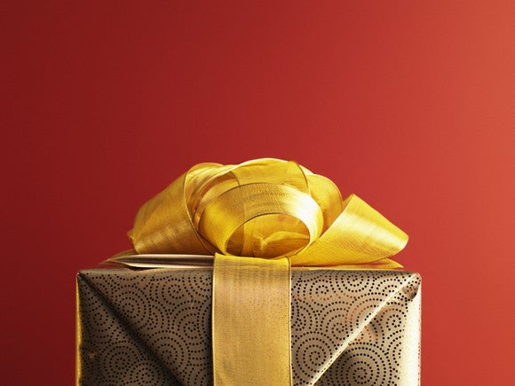 Gift With Red Background