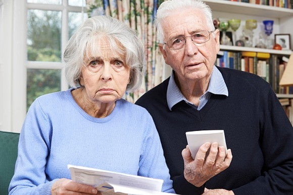 Senior Couple Worried About Finances Getty