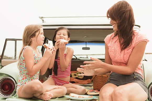 Family Eating Sandwiches By Getty
