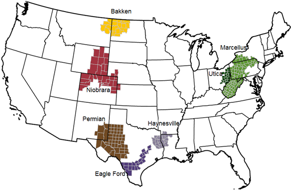 A map of the seven major shale play across the U.S.