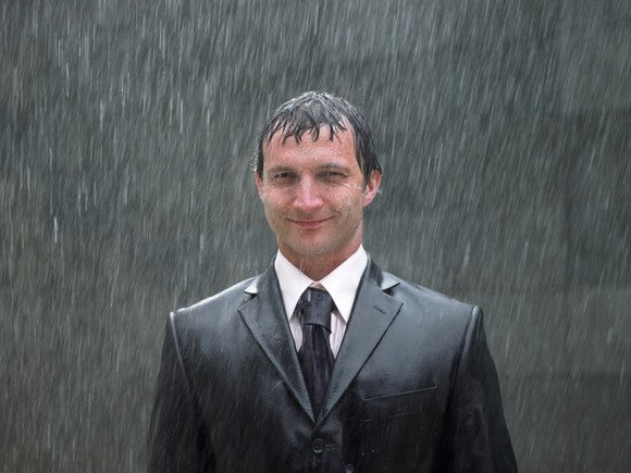 Suit Guy In The Rain By Getty