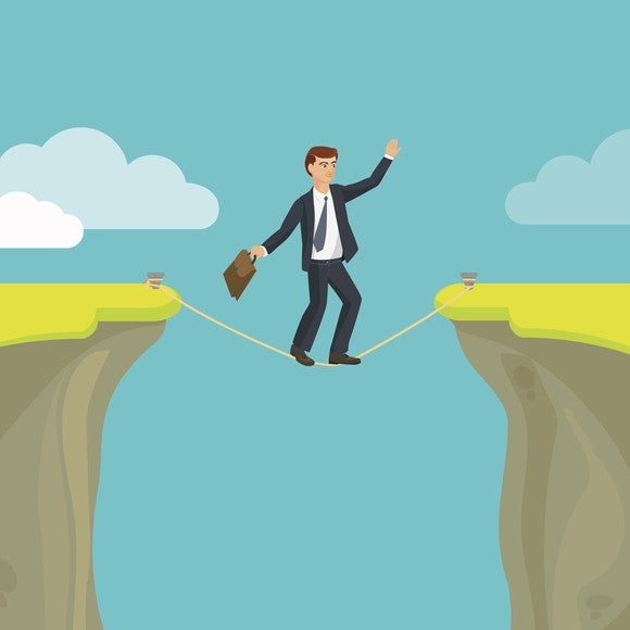 Business Man Walking Tight Rope Cliff