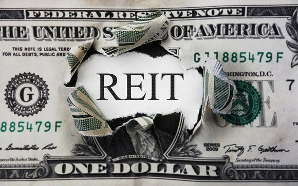 Dollar bill with the center torn out the the word REIT in the middle
