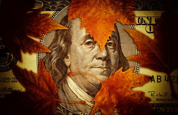 Autumn leaves siting on $100 bill, with Ben Franklin's face showing through.