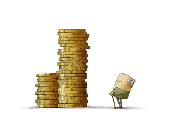 Cartoon Stack Of Coins Old Man