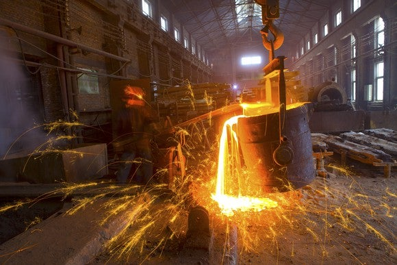 Molten steel being poured into a mold.