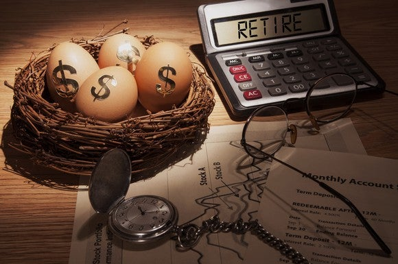 "A representation of a retirement nest egg with eggs in a basket sporting dollar signs and a calculator that reads"" Retire."""