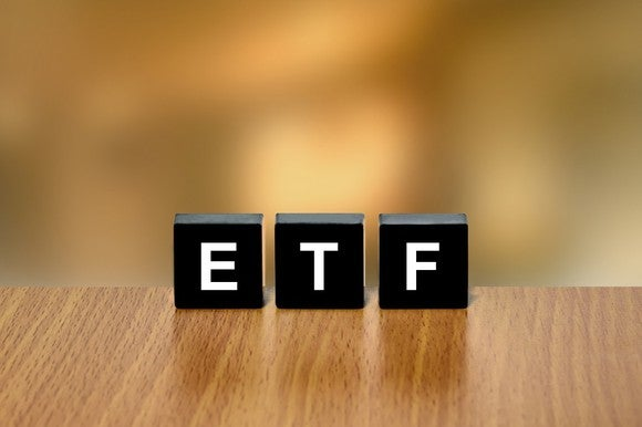 "A picture of black blocks that spell out ""ETF"""