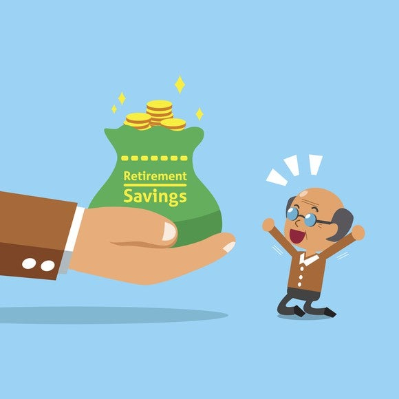 Cartoon Elderly Man Retirement Savings Jump