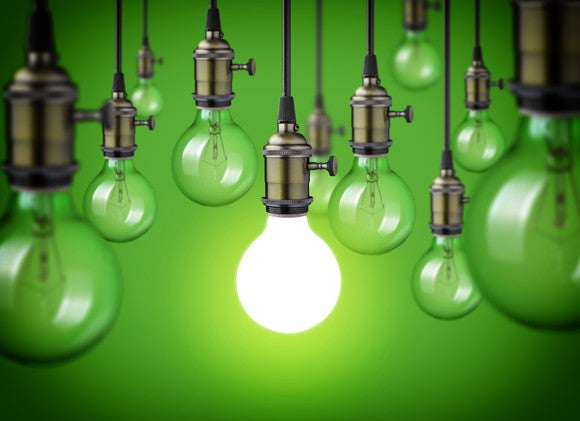 Light Bulbs Green Background Getty