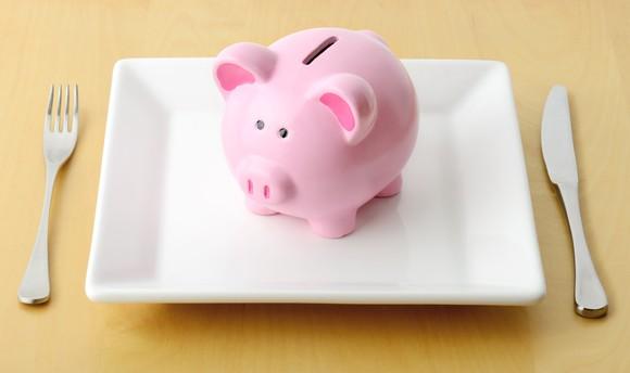 Savings Piggy Bank Plate Food Dining Value Meal Menu Getty