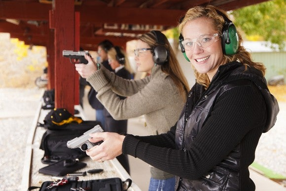 Gun Range Women Target Practice Firearms Handgun Pistol Shoot Shot Show Getty