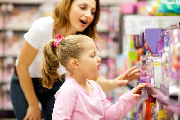 Toy Store Shopping Retail Mother Child Daughter Getty