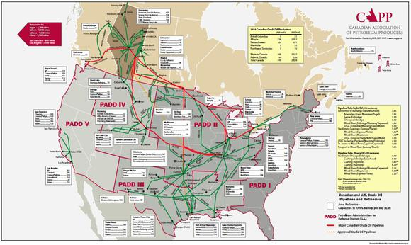 major canada us export import oil pipelines source canadian association of petroleum producers