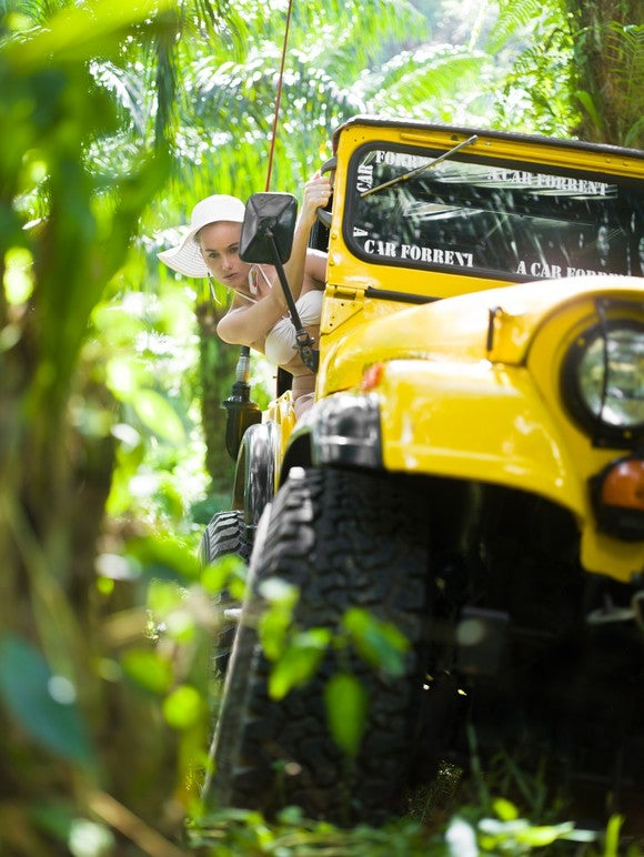 Jeep Off Road Orv Forest Girl Driving Vehicle Getty