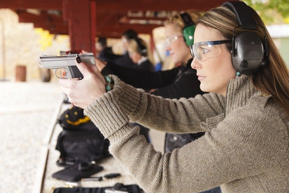 Woman Gun Range Control Shoot Eye Protection Handgun Firearm Target Safety Getty