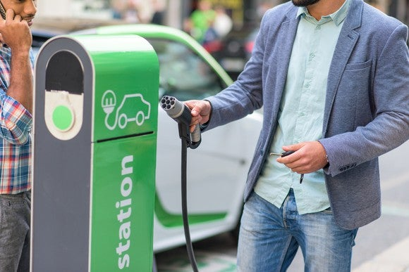 Electric Car Charging Station Ev Tesla Transportation Alternative Fuel Energy Conservation Male Getty