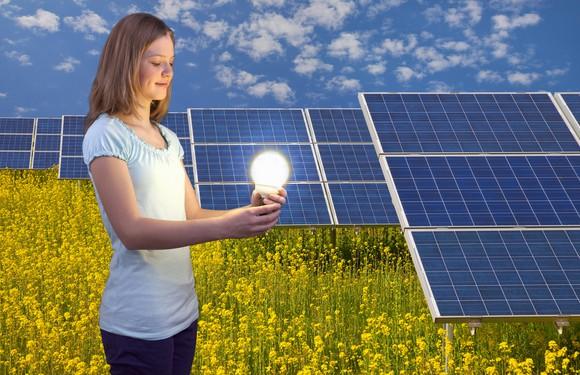 Solar Energy Panels Sun Power Electricty Teen Girl Alternative Environment Power Generation Getty