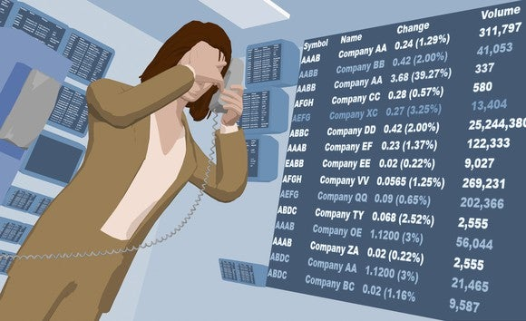 Cartoon rendering of a woman standing in front of a large list of tickers and numbers, holding a phone in one hand and covering her face with the other.
