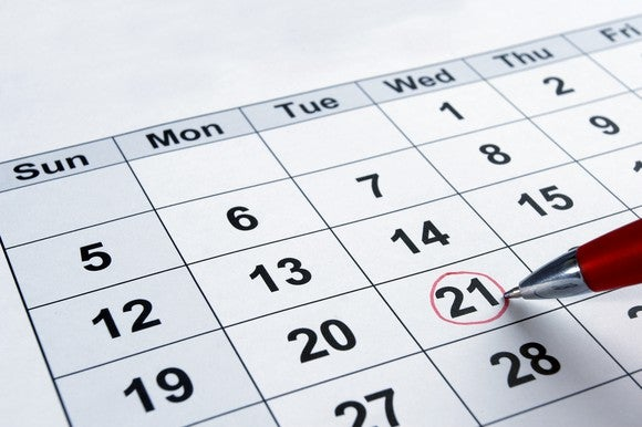 A calendar with a date circled