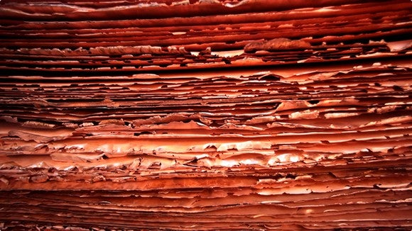A stack of copper sheets.