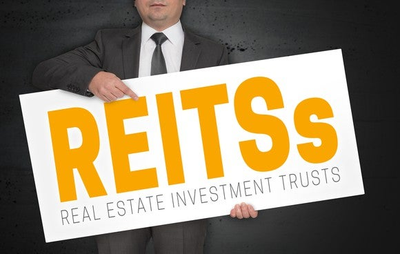 A person in a suit holding a sign that says REITs.